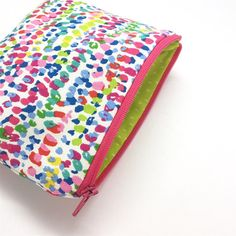 Small Speckled Print Zip Pouch Cute Makeup Bag Storage