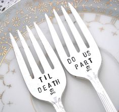 Gothic Wedding  Til Death Do Us Part  Set of 2  by theloosegoose