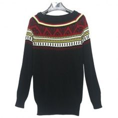 $10.09 Vintage Style Scoop Neck Long Sleeve Sweater For Women