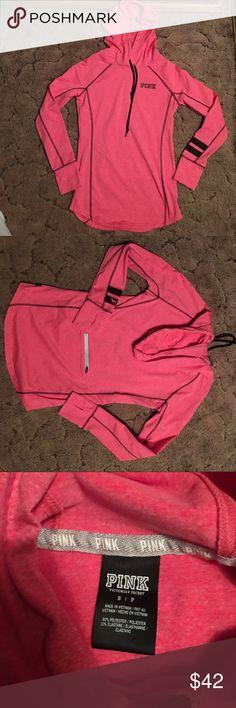 Hot pink running pullover jacket Hot pink with black lettering , Running pullover jacket, size small, never worn it's just been in my closet. PINK Victoria's Secret Tops Sweatshirts & Hoodies