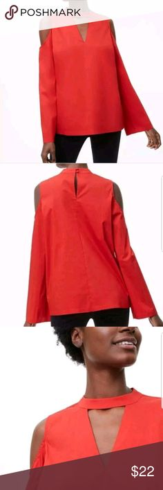 Loft NWT Red Poplin Cold Shoulder Blouse, Size S NWT Ann Taylor Loft Red Poplin Cold Shoulder Blouse, Size Small. For career casual or out at night, this shirt is versatile! 73% Cotton, 24% Nylon, and 3% Spandex. This shirt will be a staple in your closet! LOFT Tops Blouses