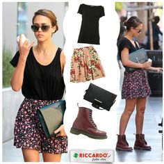 Jessica Alba wearing Dr. Martens burgundy shoes. Smart and fresh idea to set them with girly skirt and oversize, simple, black t-shirt. Want to look like her? Look at our way to to that.