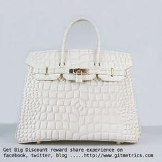 Hermes Birkin 35cm Crocodile big Veins Handbags beige golden