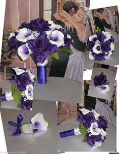 New Regency Bridal Bouquets, Purple Calla Wedding Flowers, Purple Calla Bouquet