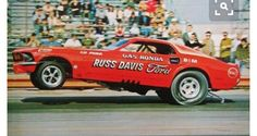 """Gaspar """" Gas """" Ronda 69 Ford Mustang / blown 427 Ford SOHC / funny car (Russ Davis Ford )This car's engine exploded and the car was destroyed in a fiery crash ending Gas Ronda's career."""
