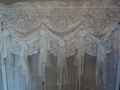 Pair Lace Valances 2 Shabby Chic Window Treatment Curtain Vintage Buttons | eBay
