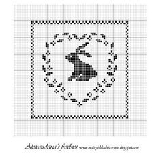 Little spring rabbit pattern. Without the square border this would make a lovely heart-shaped hanging