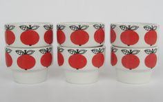 Very rare Arabia of Finland 6 egg cups Marja Kirsikka Esteri Tomula design seventies vintage retro pottery scandinavian red. €189.00, via Etsy.
