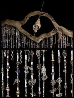 Bohemian Crystal Mobile Curtain Suncatcher by DriftingWhispers Driftwood Mobile, Driftwood Art, Driftwood Ideas, Crystal Mobile, Hanging Mobile, Pink Quartz, Suncatchers, Bohemian Decor, Wind Chimes