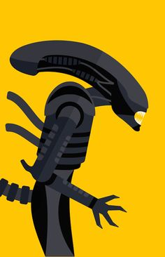 Eye-Catching Posters Of Iconic Movie Characters Illustrated In A Flat Style - Alien