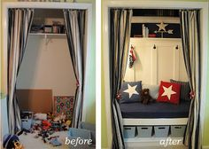 Closet Turned Reading Nook and Toy Storage - My son has two full sized closets in his room, but really only needs one. I turned this extra closet in… Reading Nook Closet, Closet Nook, Reading Nooks, Closet Space, Closet Bench, Closet Redo, Playroom Closet, Boys Closet, Hall Closet