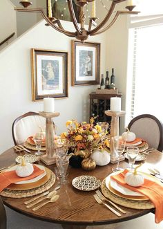 Decorating On A Budget A Stroll Thru Life: Life Of The Party Holiday Table - Sponsored by Wayfair Thanksgiving Centerpieces, Thanksgiving Food, Table Place Settings, Fall Dinner, Fall Table, Table Decorations, Holiday Decorations, Holiday Ideas, Holiday Tables