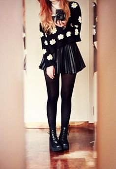 pewter doc marten boots outfit | skirt sweater floral black ineed dr.martens winter outfits cute blouse