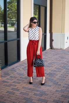 women's workwear, work outfit, cute work outfit, unique work outfit, work outfit hacks, Boss babe outfit, girl boss outfit, red pants, paper bag waist pants, tie waist pants, red pants