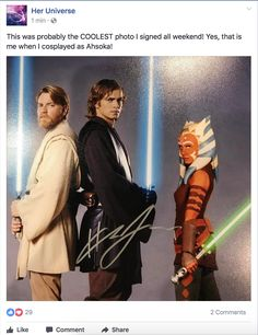 """This was probably the COOLEST photo I signed all weekend! Yes, that is me when I cosplayed as Ahsoka!"" ~ That's the coolest picture I've seen today! Star Wars Rebels, Star Wars Clone Wars, Star Wars Art, Star Trek, Ashley Eckstein, Robin, Star War 3, The Force Is Strong, Star Wars Humor"