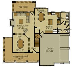 plan No:W92333MX two storey house. Level 1 floor plan.
