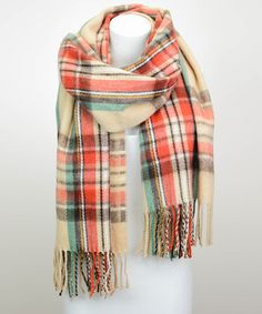 Look what I found on #zulily! Cream & Red Tartan Plaid Scarf by Leto Collection #zulilyfinds