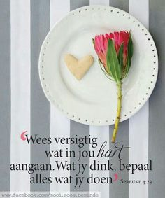 Wees versigtig wat in jou hart aangaan Afrikaanse Quotes, Bible Qoutes, Jesus Is Lord, Inspirational Thoughts, God Is Good, Cool Words, Hart, Living Water, Wisdom