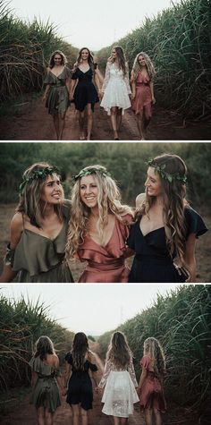 Boho bridesmaids in olive green, rose pink and navy silk cocktail dresses with l. Engagement and Hochzeitskleid - Olive Green Bridesmaid Dresses, Mismatched Bridesmaid Dresses, Wedding Bridesmaid Dresses, Boho Wedding Dress, Boho Bridesmaids, Bridesmaid Crowns, Autumn Bridesmaids, Wedding Shoot, Wedding Ceremony