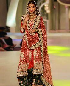 D4589 Pakistani Designer Mona Imran Red Bridal Sharara For Reception at Bridal Couture Week 2013 Bridal Wear