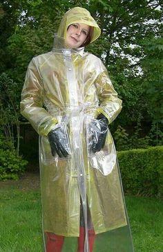 Glass clear worn over yellow plastic mack Clear Raincoat, Green Raincoat, Vinyl Raincoat, Pvc Raincoat, Plastic Raincoat, Plastic Pants, Hooded Raincoat, Pvc Trousers, Imper Pvc