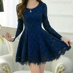 sapphire lace dress blue mini dress / Long Sleeved blue Lace Chiffon Dress / Little navy Dress / navy Fit and Flare Dress - Formal Dresses 😍 Hoco Dresses, Dance Dresses, Pretty Dresses, Beautiful Dresses, Dress Outfits, Fashion Dresses, Lace Homecoming Dresses, Short Blue Dresses, Semi Formal Dresses With Sleeves