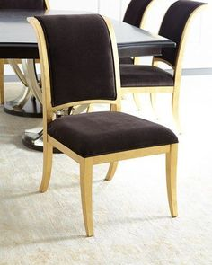 """Handcrafted armchair. Hardwood frame with gold-leaf finish. Faux-mohair (acrylic/polyester/cotton/nylon) upholstery. Mortise-and-tenon frame construction. 21.25""""W x 28""""D x 37""""T; seat, 19""""T. Imported. Boxed weight, approximately 28 lbs."""