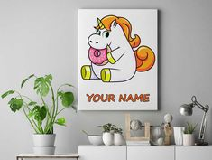 Unicorn eating doughnut Personalized unicorn canvas wall decor for kids personalised unicorn canvas ready to hang on the wall picture by funkytshirtsfactory on Etsy Unicorn Wall, Canvas Wall Decor, Canvases, Picture Wall, Doughnut, Cool Stuff, Eat, Kids, Pictures