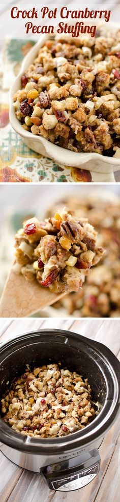 Crock Pot Cranberry Pecan Stuffing - A light and easy stuffing recipe made in your slow cooker perfect for a Thanksgiving side dish!