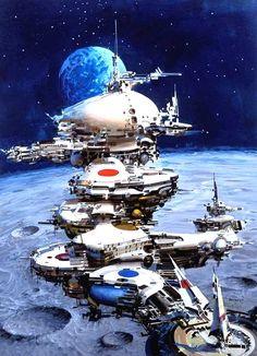 Ship Over the Moon by John Berkey