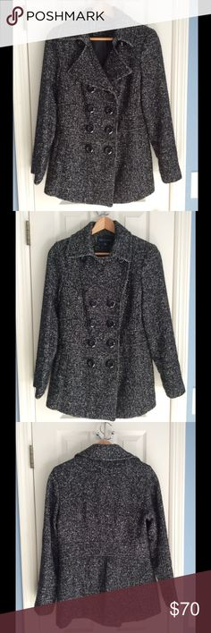 🌟Anne Klein blk/grey Wool Blend Coat/Peacoat Sz M Anne Klein wool blend coat/peacoat worn just a few times. Sz M in pretty grey/blk color that goes with everything! Can be worn w buttons open or buttoned all the way up to throat (see pics) 50% poly/40% wool/ 8% acrylic/2% nylon. I am happy to consider offers but pls no trades 🎀 top photo most accurate pic of color Anne Klein Jackets & Coats