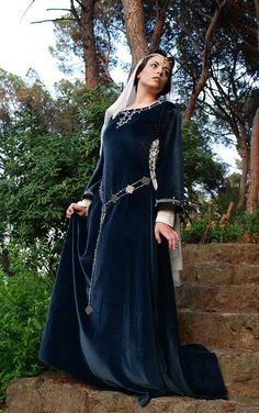vestido gotico medieval azul