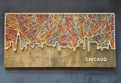Chicago Skyline String Art by CactusCustomDesigns on Etsy