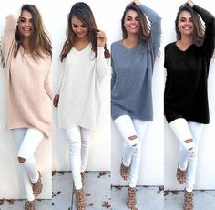 Dmart7deal Batwing Long Sleeve V-neck Sweater PCheck out the latest products in our online store:  SHOP NOW!!! AT dmart7deal.com!!!!lus Size Loose Pullovers Pull