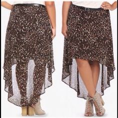 8d96df1bba4 Plus size cheetah high low skirt New with tags! Never worn high low skirt.  Has zipper true to size no stretch.