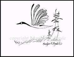 PRINT  INK DRAWING Canada Gooseflying wings by OriginalSandMore, $15.00