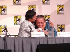 "Esai Morales (""Joseph Adama"") kisses his 'son' Edward James Olmos (""Bill Adama""); so glad I captured that! Esai Morales, What Do You Hear, Im Grateful, San Diego Comic Con, Kissing Him, Battlestar Galactica, Nerdy Things, Of My Life, Kisses"
