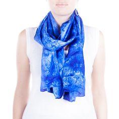 bright blue silk scarf / indigo blue scarf  /  by CeliaEtcetera