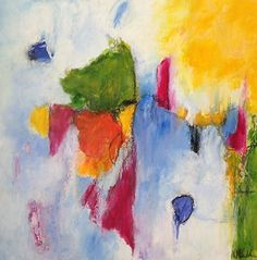 Bright Morning by Kathy McCullen acrylic, oil sticks, charcoal, and ink ~ 20 x 20