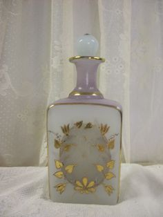 Victorian Frosted Glass Cologne Perfume Barber Bottle | eBay