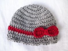 Crochet Baby Bow Hat Grey and Red Bow Hat by CrochetByJulia, $9.50