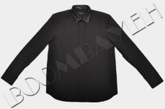 GIVENCHY BLACK COTTON DRESS SHIRT WITH LEATHER COLLAR FW2013/14