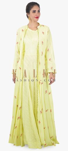 Buy Online from the link below. We ship worldwide (Free Shipping over US$100)  Click Anywhere to Tag Lime green dress complimented with a matching jacket adorn in resham embroidery only on kalki Experiment with your ethnic couture.With this lime green dress.Paired with a resham embroidered jacket.
