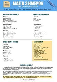 Η Δίαιτα 3 Ημερών Three Day Diet, Healthy Tips, Healthy Recipes, Hypothyroidism Diet, Lose Weight, Weight Loss, Better Life, Stay Fit, Diet Recipes