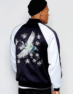 Image 1 ofJaded London Souvenir Bomber Jacket With Bird Back Print