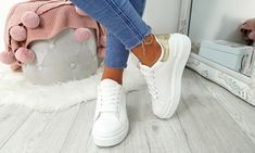 Platform Contrast Heel Trainers Lace Up Trainers, Leather And Lace, Party Wear, Contrast, Platform, Stylish, Casual, Things To Sell, Women