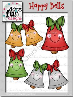 Free Clip Art: Happy Bells from Dots of Fun  on TeachersNotebook.com (8 pages)  - Free Clip Art: Happy Bells