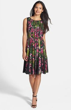 Adrianna Papell Spliced Floral Print Fit & Flare Dress (Regular & Petite) available at #Nordstrom