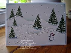 Sponged Festival of Trees with White Christmas Stampin' Up!