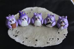 Misty 5 Owl Charms Wizard Purple Polymer Clay Pendant by boriville, $20.00